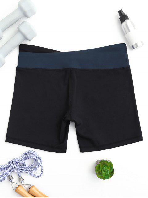sale Asymmetric Waist Color Block Shorts - BLUE M Mobile