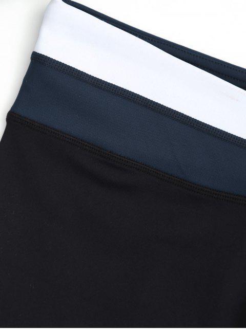 Shorts de couleur asymétrique à la taille - Bleu S Mobile