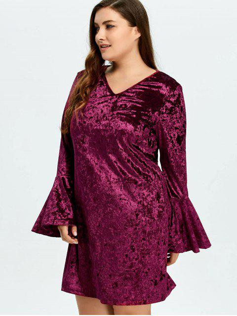 fashion Belled Sleeve Plus Size Velvet Dress - PURPLISH RED 3XL Mobile