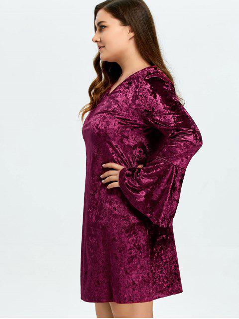 Robe velours à manches cloche à taille plus - Bordeaux 2XL Mobile