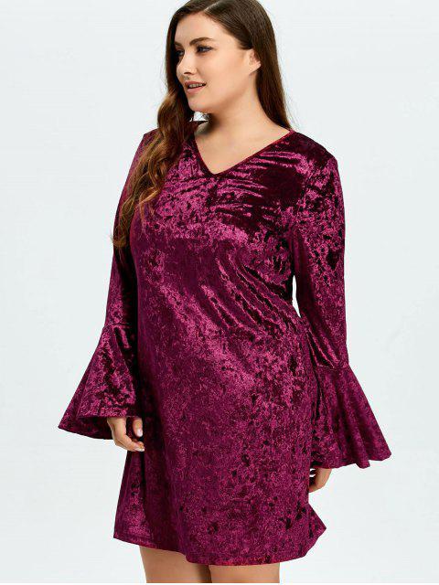 unique Belled Sleeve Plus Size Velvet Dress - PURPLISH RED L Mobile