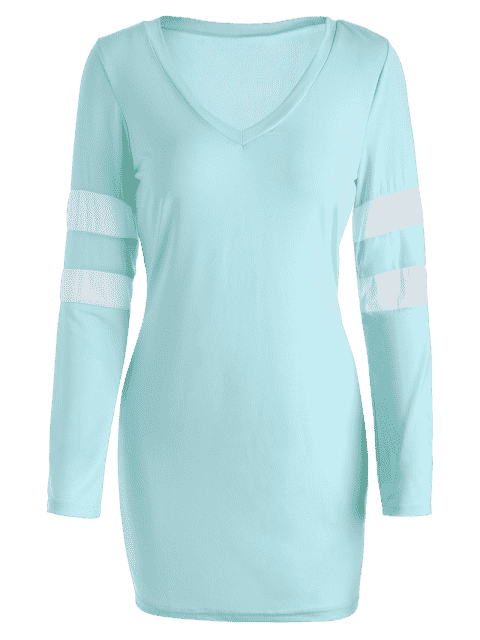 V Neck Stripes Bodycon Robe t-shirt - Bleu clair M Mobile