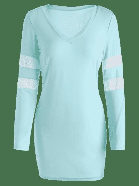 V Neck Stripes Bodycon Robe t-shirt - Bleu clair S Mobile
