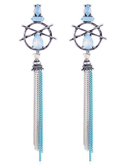Hollow Out Teardrop Bracelet à fleurs - Bleu  Mobile