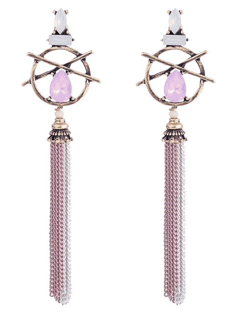 latest Hollow Out Teardrop Artificial Gem Fringed Earrings - PINK  Mobile