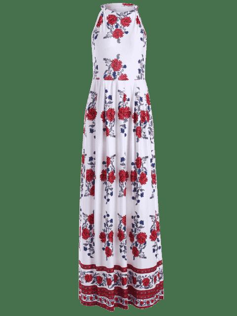 Robe maxi imprimée imprimée sans manches - Floral 2XL Mobile
