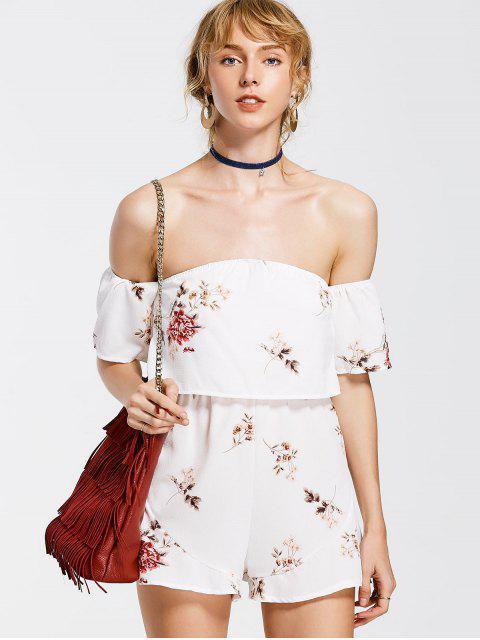 women Flower Overlay Off Shoulder Romper - WHITE L Mobile