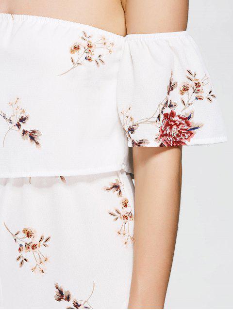 Superposition de fleurs hors épaule - Blanc M Mobile