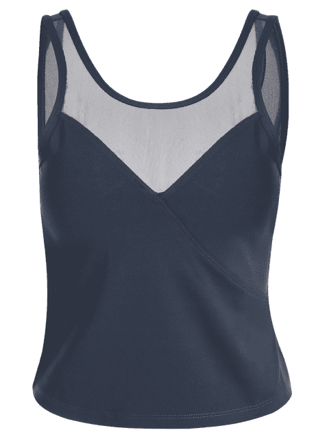shops Padded Mesh Insert Sweat Tank Top - GREY BLUE S Mobile