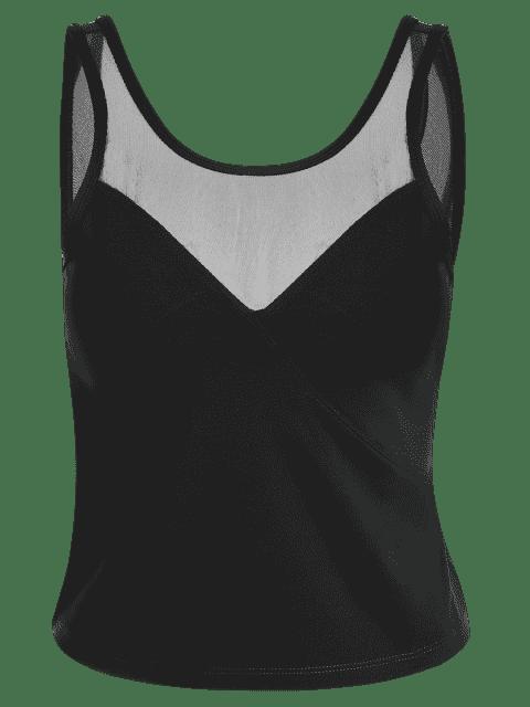 fashion Padded Mesh Insert Sweat Tank Top - BLACK S Mobile