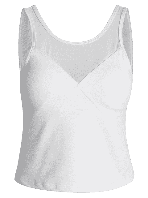 chic Padded Mesh Insert Sweat Tank Top - WHITE L Mobile