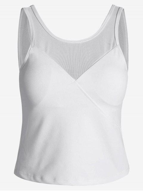 fancy Padded Mesh Insert Sweat Tank Top - WHITE M Mobile
