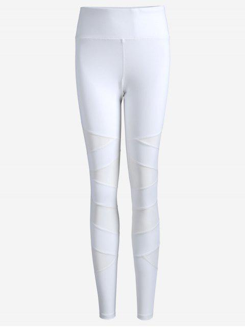 latest Workout Mesh Yoga Leggings - WHITE M Mobile