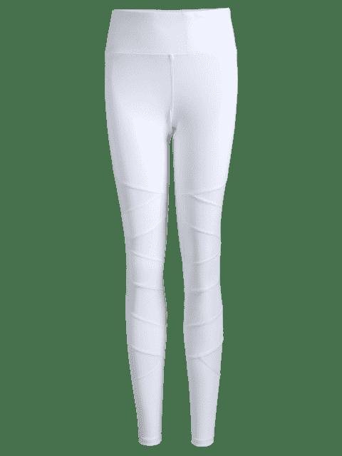 trendy Workout Mesh Yoga Leggings - WHITE S Mobile