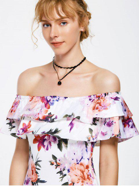 sale Floral Overlay Off Shoulder Bodycon Dress - FLORAL L Mobile