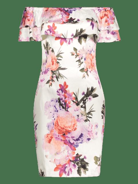 Floral Overlay Off Shoulder Bodycon Dress - Floral M Mobile