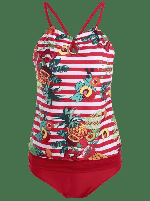 latest Cross Back Tropical Fruit Print Plus Size Tankini Set - RED XL Mobile