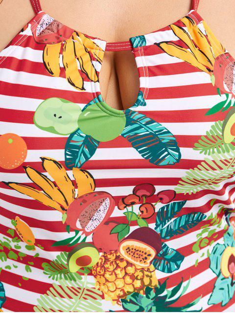trendy Cross Back Tropical Fruit Print Plus Size Tankini Set - RED 2XL Mobile