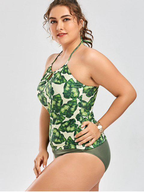 lady Palm Leaf Print Plus Size Tankini Bathing Suit - GREEN XL Mobile