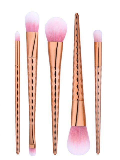 5 Pieces Ensemble De Brosses De Maquillage De Poignée De Vague Conique - Or Rose  Mobile