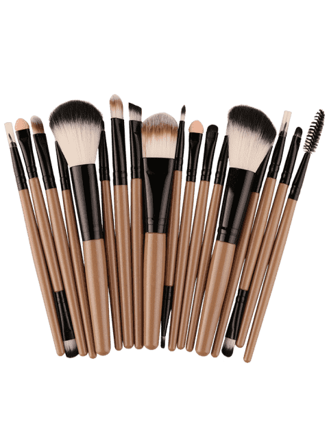 womens 18Pcs Multifunctional Facial Makeup Brushes Set - KHAKI+BLACK  Mobile