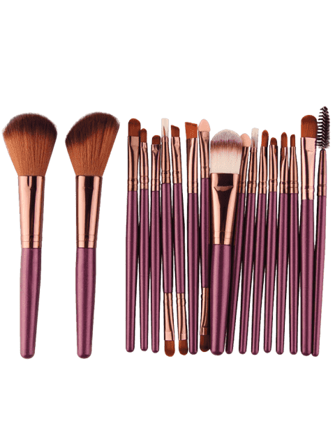 18Pcs Ensemble de brosses multifonctions pour maquillage facial - Pourpre Brunâtre   Mobile