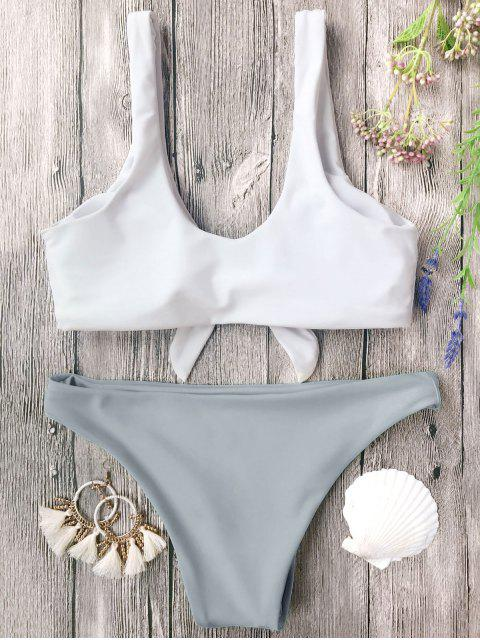 online Padded Knotted Bralette Bikini Set - GREY AND WHITE L Mobile