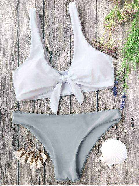 new Padded Knotted Bralette Bikini Set - GREY AND WHITE M Mobile
