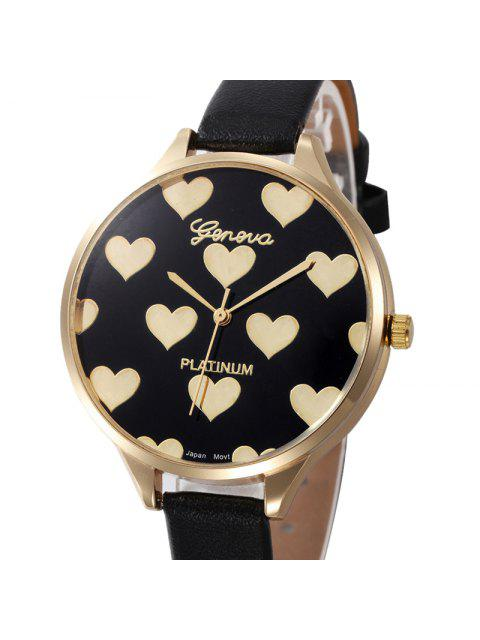 women Heart Face Faux Leather Strap Watch - BLACK  Mobile