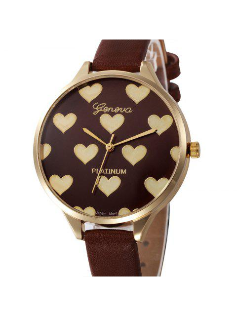 ladies Heart Face Faux Leather Strap Watch - BROWN  Mobile