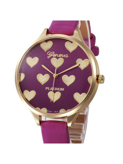 lady Heart Face Faux Leather Strap Watch - PURPLE  Mobile