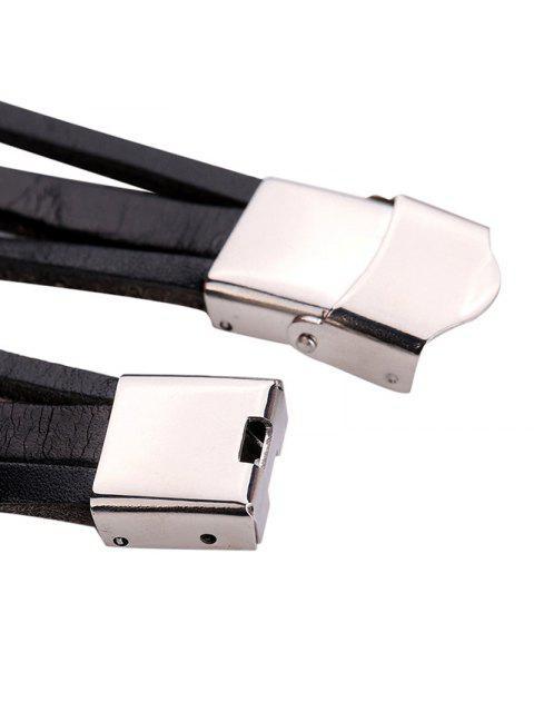 new Rhinestone Heart Layered Charm Bracelet Watch - BLACK  Mobile