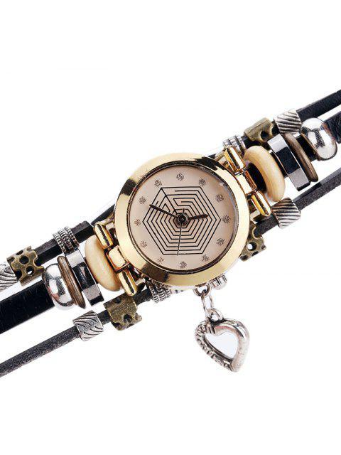 Montre bracelet en forme de coeur strass - Brun  Mobile