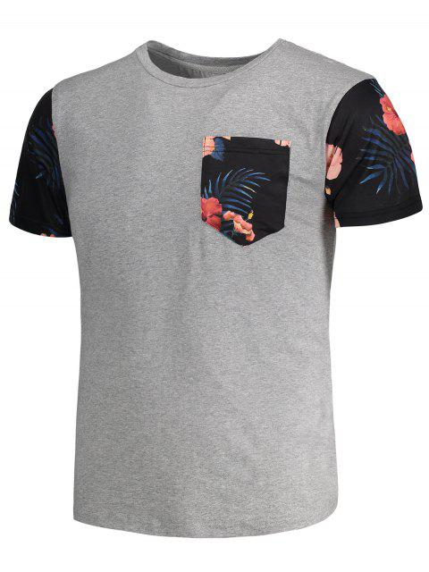 buy Tropical Floral Print Patchwork T-shirt - GRAY XL Mobile