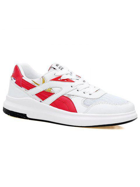 womens Color Block Mesh Running Athletic Shoes - RED WITH WHITE 37 Mobile