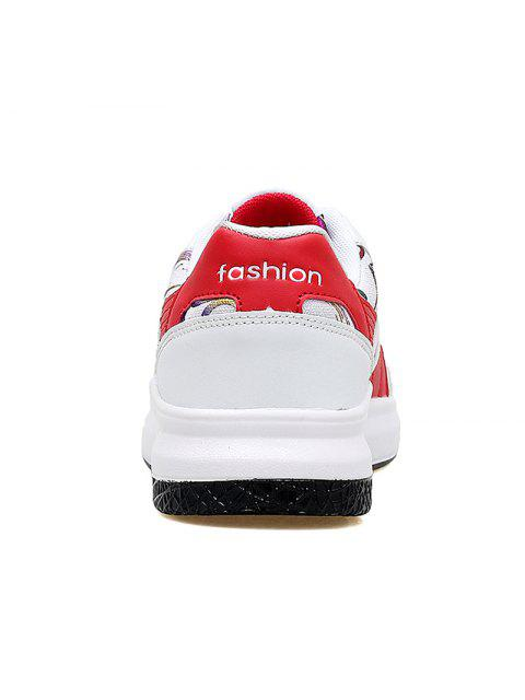 women's Color Block Mesh Running Athletic Shoes - RED WITH WHITE 39 Mobile