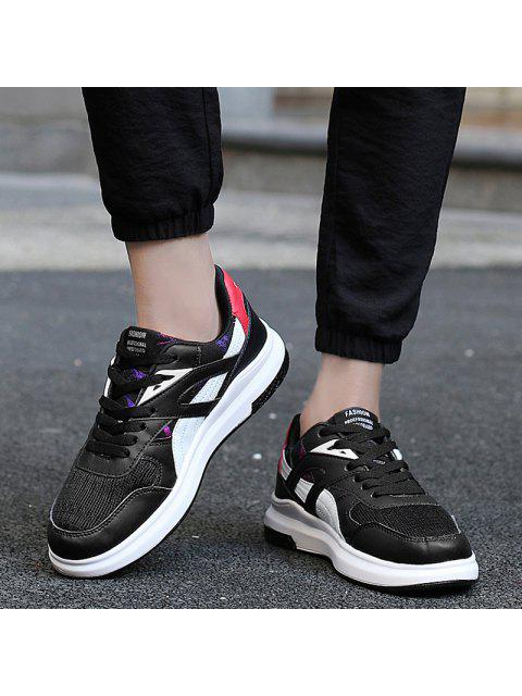 lady Color Block Mesh Running Athletic Shoes - WHITE AND BLACK 39 Mobile