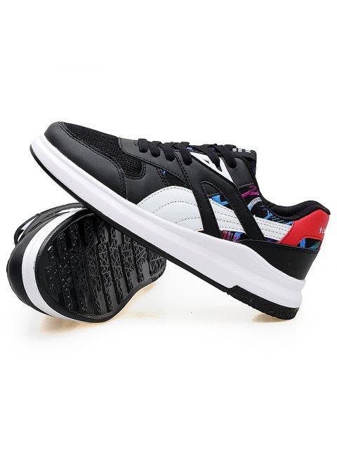 best Color Block Mesh Running Athletic Shoes - WHITE AND BLACK 40 Mobile