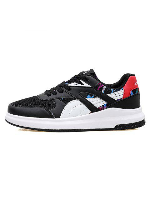 online Color Block Mesh Running Athletic Shoes - WHITE AND BLACK 37 Mobile