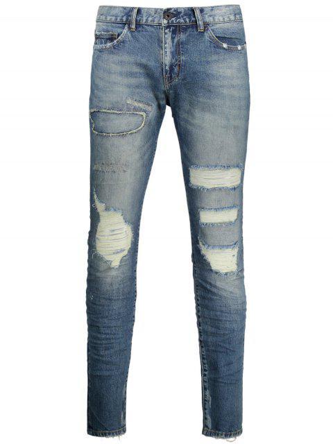 shop Vintage Distressed Jeans - DENIM BLUE 38 Mobile