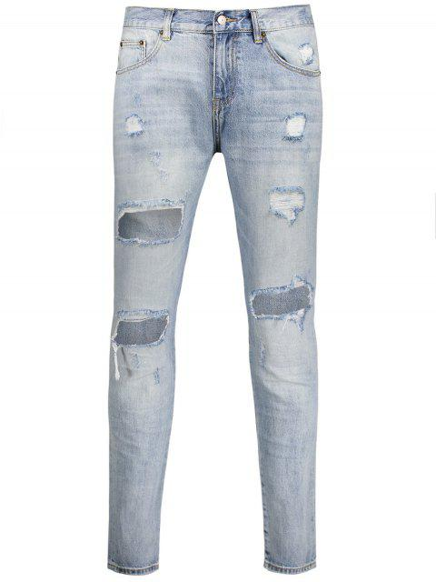 fancy Vintage Ripped Jeans - LIGHT BLUE 34 Mobile