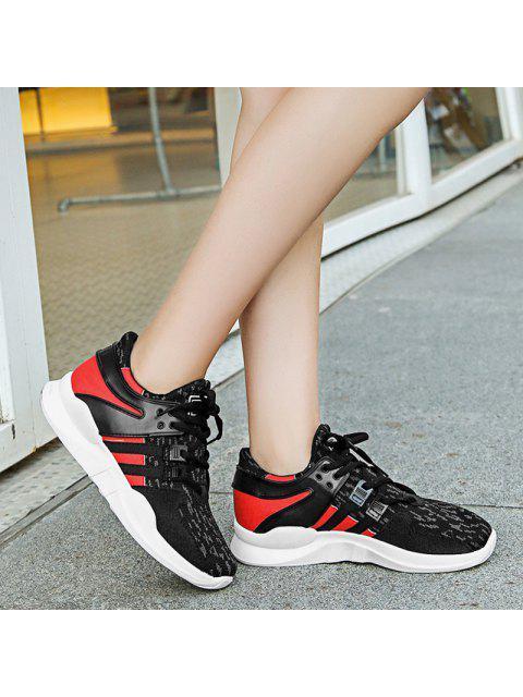 shop Breathable Colour Block Mesh Athletic Shoes - BLACK 38 Mobile