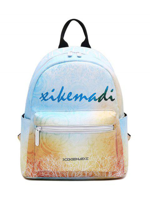 online Faux Leather Painted Backpack - YELLOW  Mobile