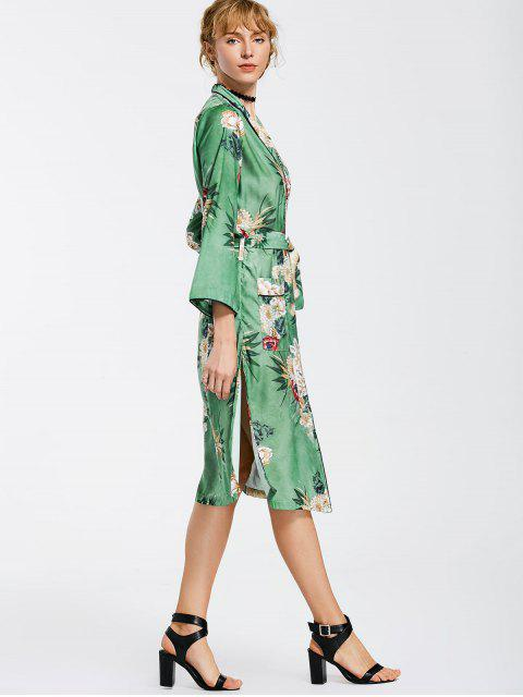 latest Kimono Floral Belted Duster Coat - FLORAL S Mobile