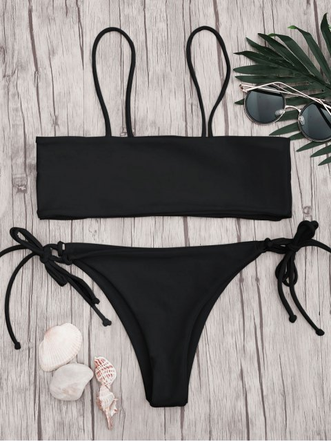unique Bandeau Bikini Top and Tieside String Bottoms - BLACK S Mobile