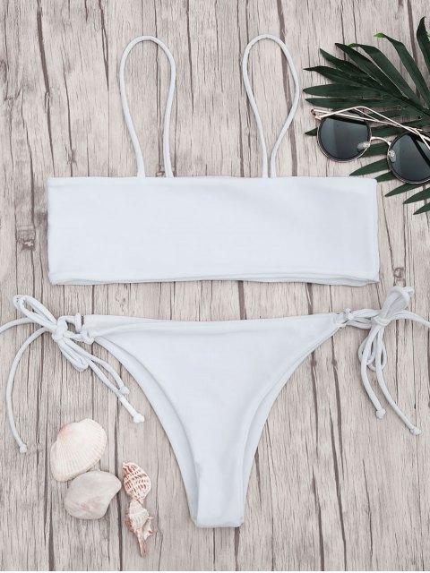 fashion Bandeau Bikini Top and Tieside String Bottoms - WHITE S Mobile