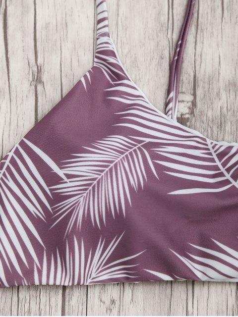 shops Palm Leaf Print Padded Bralette Bikini Set - PURPLE AND WHITE S Mobile