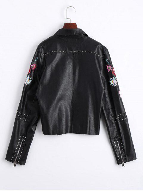 fancy Floral Embroidered PU Leather Biker Jacket - BLACK L Mobile