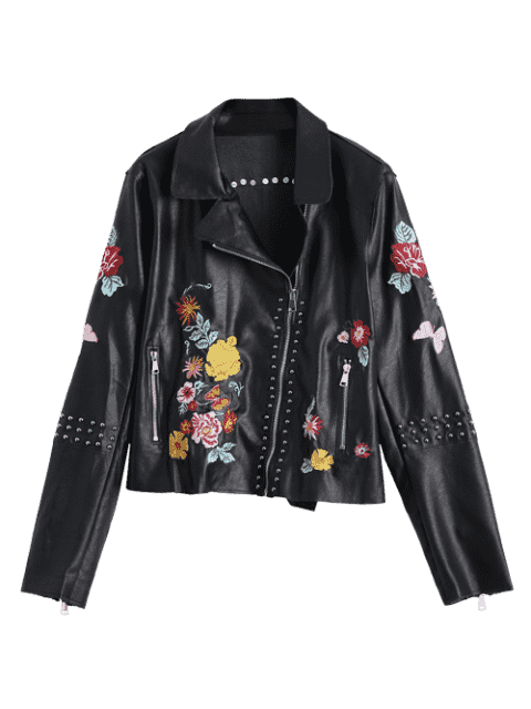 sale Floral Embroidered PU Leather Biker Jacket - BLACK S Mobile