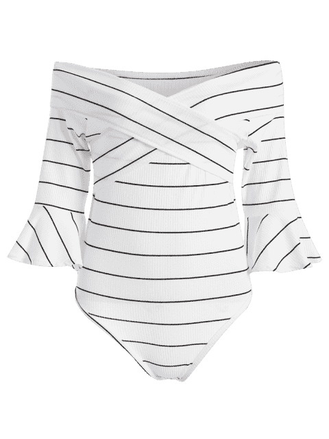 Off The Shoulder Flare Sleeve à rayures en coton - Blanc L Mobile